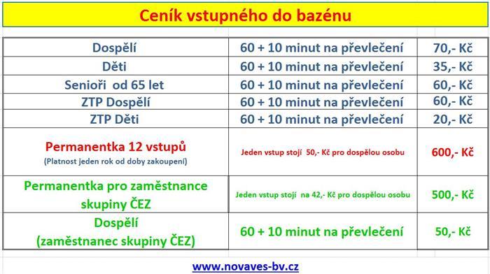 Bazén Nová Ves - ceník