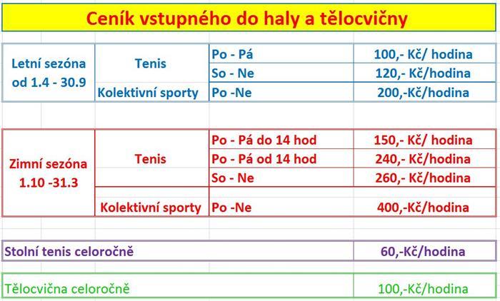 Hala Nová Ves - ceník
