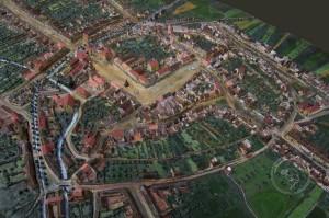 Plastický model města Ivančic v roce 1875